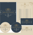 set design elements for restaurant with crown vector image vector image