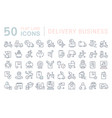 set line icons delivery business vector image