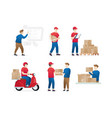 set of service delivery vector image
