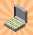Suitcase of money wads of dollars isometric style vector image vector image