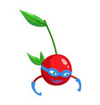 superhero cartoon cherry berry on a branch with a vector image