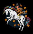 turkey on thanksgiving day riding a unicorn vector image