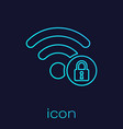 Turquoise wifi locked sign line icon isolated on