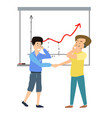 two men shake handes with business background vector image