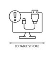 usb does not work linear icon vector image