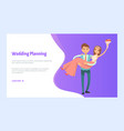 wedding planning bride and groom newlywed couple vector image vector image