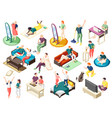 weekend at home isometric icons vector image vector image