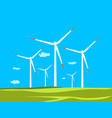 windmills on green fields vector image