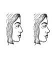 woman face rhinoplasty skirt sketch vector image