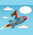 woman flying rocket pop art style vector image vector image