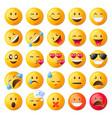 set of cute emoticons set of emoji vector image