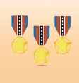 Star medal award with neck strap vector image