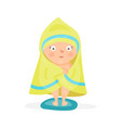 sweet cartoon baby wrapped in a yellow towel after vector image