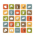 autumn icon set on colored squares with shade vector image vector image