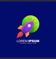 awesome rocket moon logo design vector image vector image