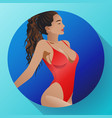 beautiful tanned girl with curly hair icon vector image vector image