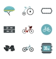 Bike icons set flat style vector image vector image