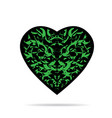 black heart with green pattern and shadow vector image vector image