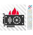 burn video graphics card flat icon with bonus vector image vector image