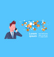 business man talking on cell phone over vector image