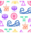 cartoon silhouette amusement park seamless pattern vector image