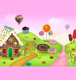 cartoon sweet city land vector image vector image