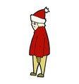 comic cartoon person in winter clothes vector image