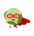 cute cartoon cabbage superhero in mask and red vector image vector image