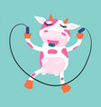 cute cow rope jumping cartoon vector image