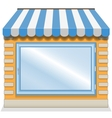 Cute shop icon with blue awnings vector image vector image