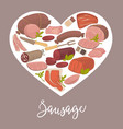 delicious sausages of high quality inside heart on vector image vector image