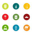 desert trip icons set flat style vector image vector image