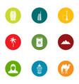 desert trip icons set flat style vector image