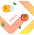fresh peach fruit background in paper art style vector image vector image