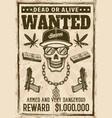 gangsta rapper skull in snapback cap wanted poster vector image vector image
