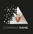 golden letter v logo in silver pixel triangle vector image vector image