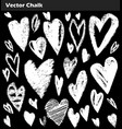 hand drawn chalk set of grunge hearts vector image
