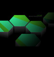 hexagonal green and metal shape scene vector image vector image