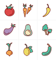 Icons Style Icons set Vegetable vector image
