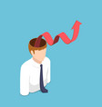 isometric businessman with red growth graph come vector image
