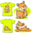 kid shirt with cute bear in love printed vector image vector image