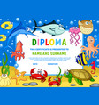 kids diploma certificate with underwater animals vector image vector image
