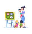 kids study letters little babies in kindergarten vector image