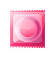 latex condom in pink package isolated on white vector image