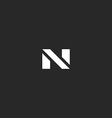 Letter N logo black and white style mockup modern vector image vector image