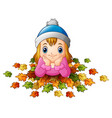 little happy girl with autumn leaves vector image vector image