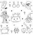 Many Element Halloween in doodle vector image vector image