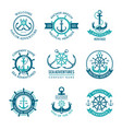 marine logo nautical emblem with ship vector image vector image