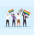 men with rainbow flags to community freedom vector image vector image