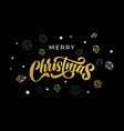 merry christmas gold calligraphy and ornaments vector image vector image
